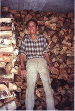 Dad (89 years old) with the wood he chopped on a visit to Germany, in 1996.